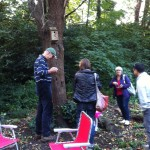 Chairman Tim Barnes taking part in the woodland activities.