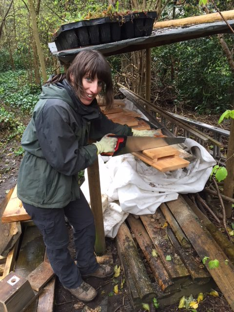 Volunteer Hazel creating bird boxes